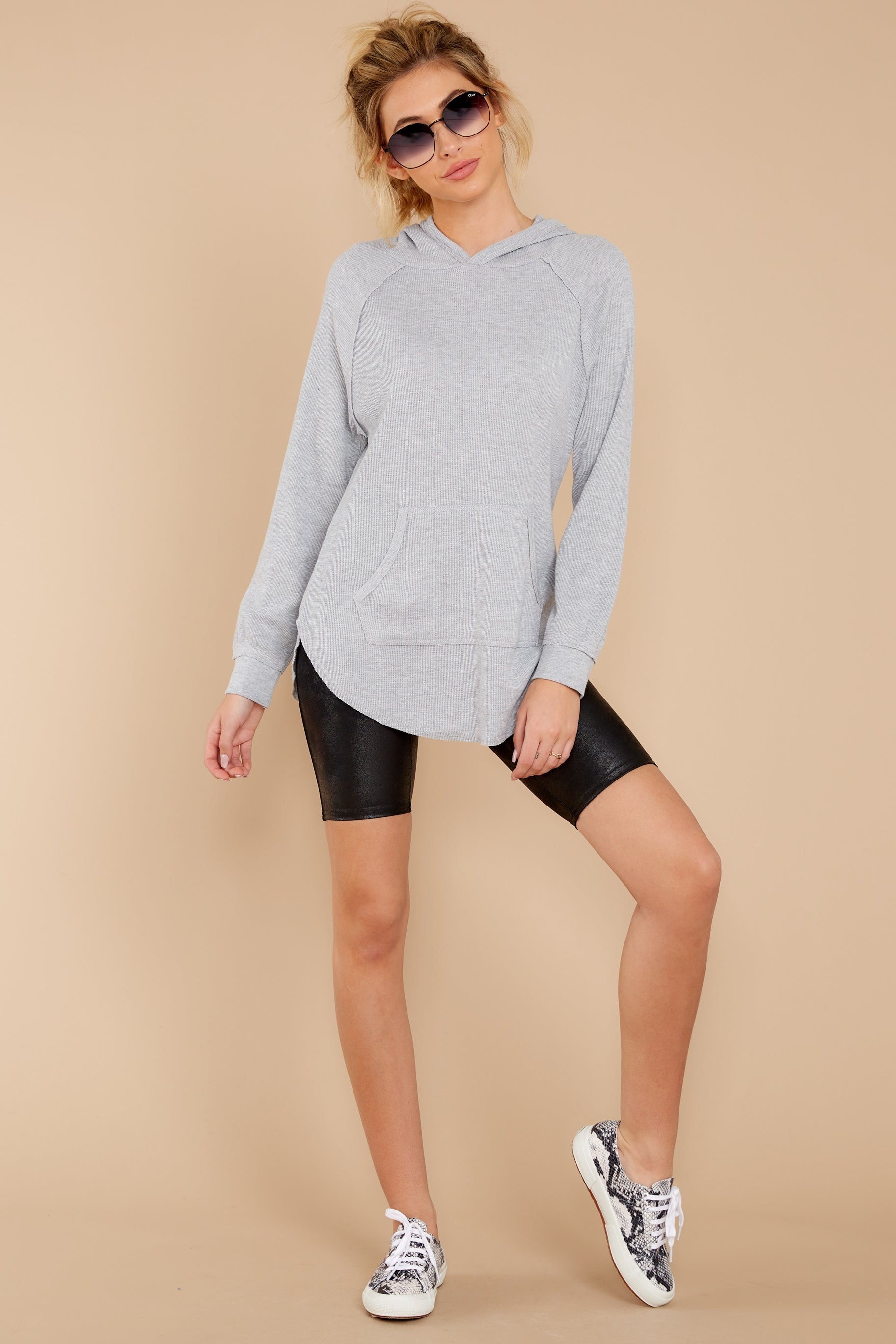 2 The Heather Grey Thermal Hooded Tunic Top at reddressboutique.com