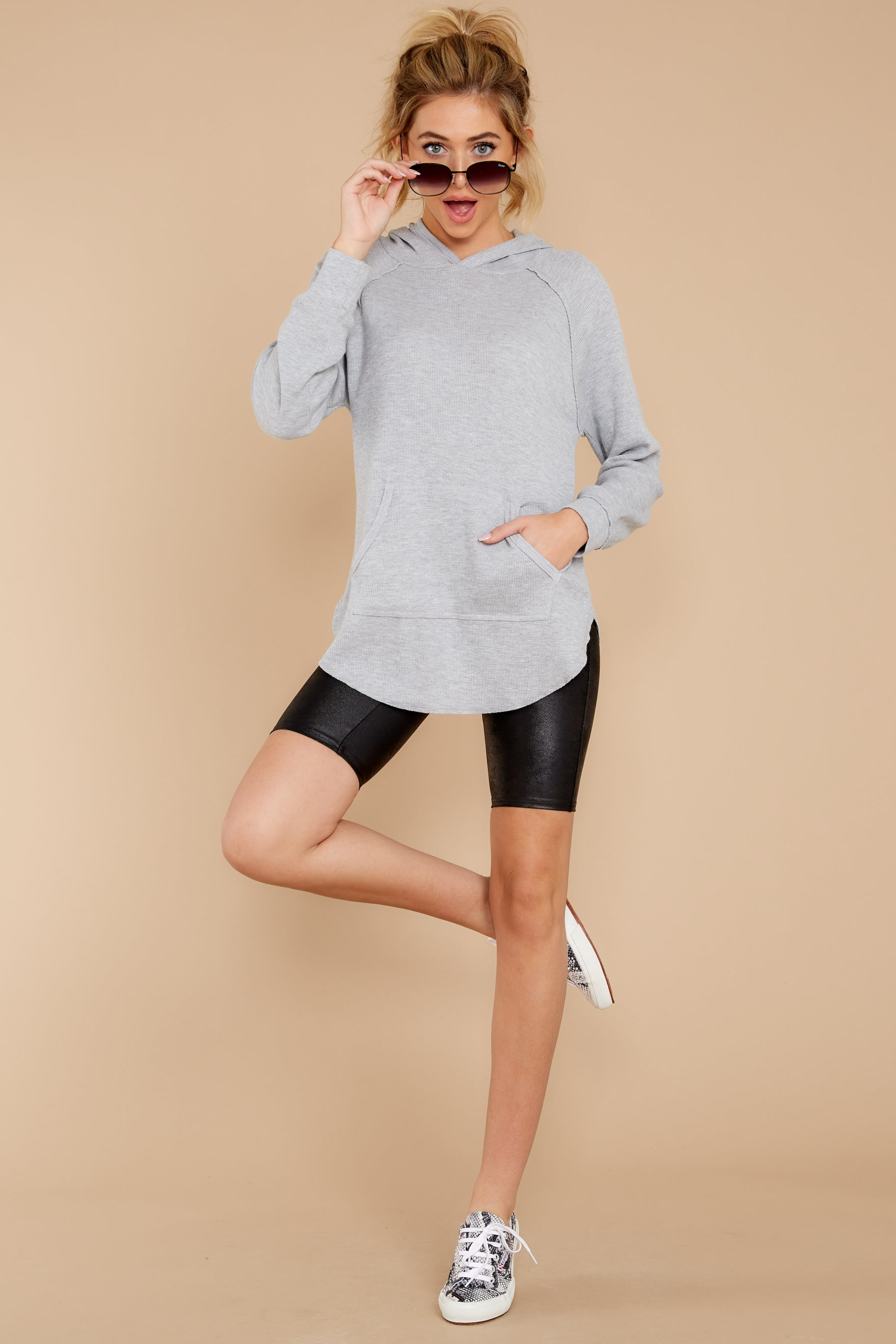 3 The Heather Grey Thermal Hooded Tunic Top at reddressboutique.com