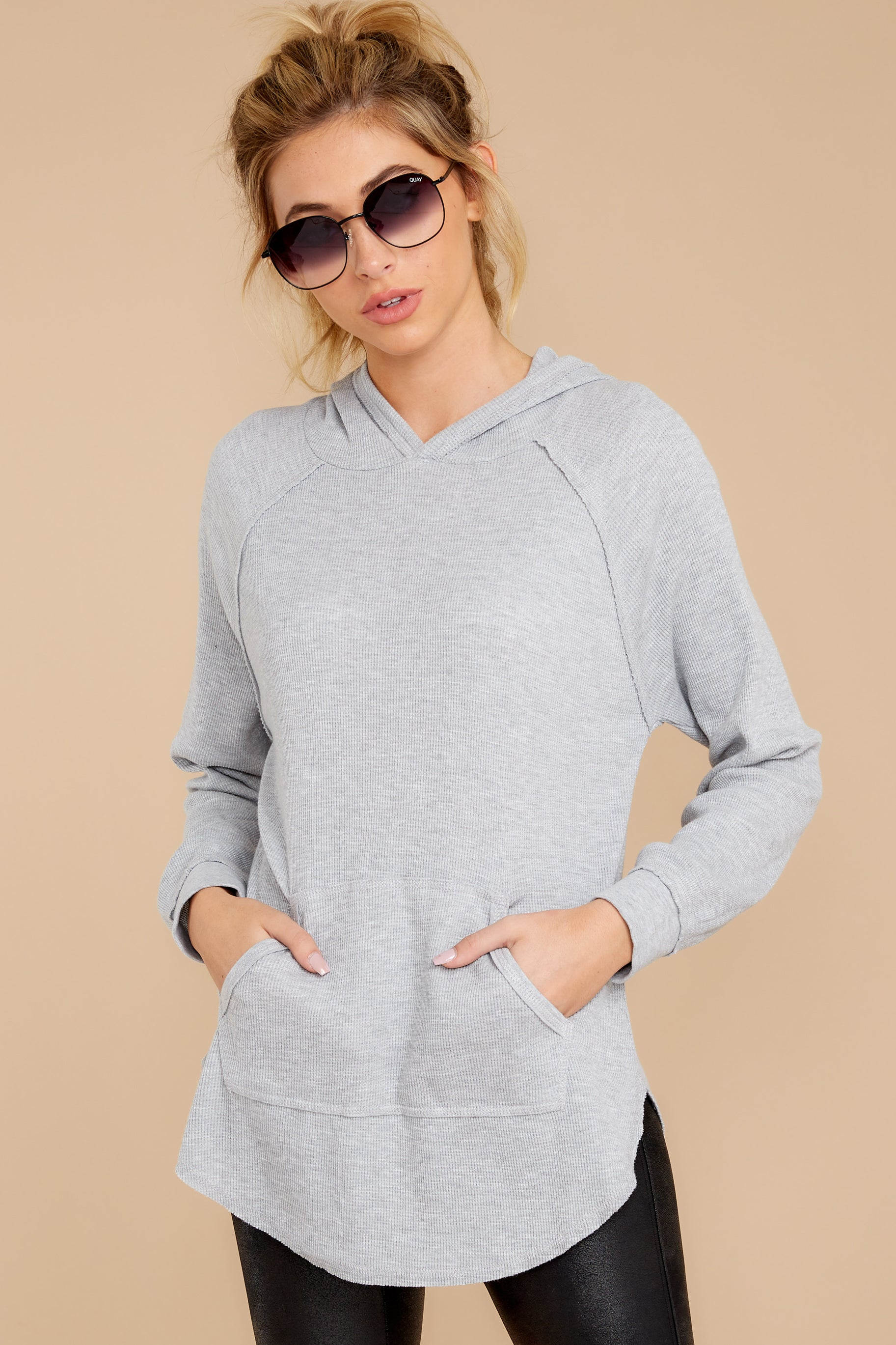 4 The Heather Grey Thermal Hooded Tunic Top at reddressboutique.com