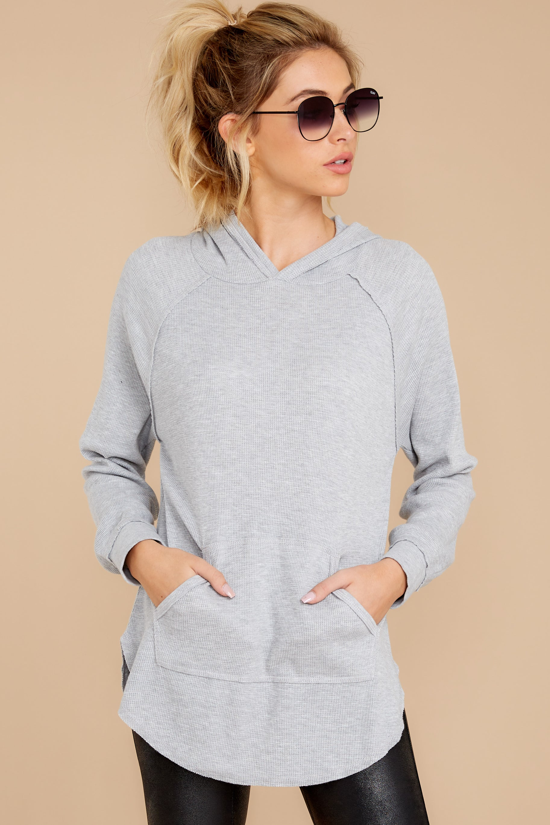 5 The Heather Grey Thermal Hooded Tunic Top at reddressboutique.com