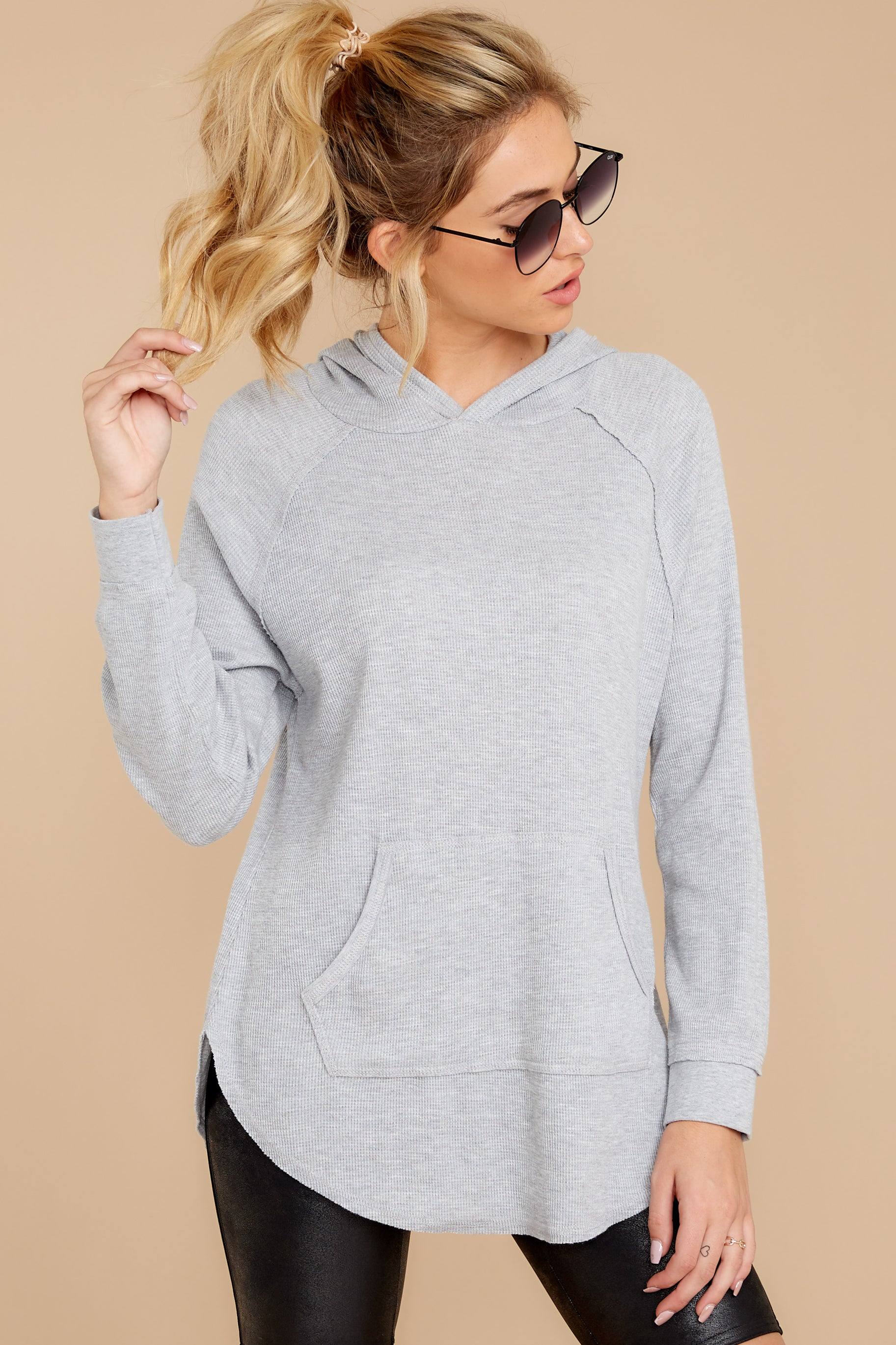 7 The Heather Grey Thermal Hooded Tunic Top at reddressboutique.com