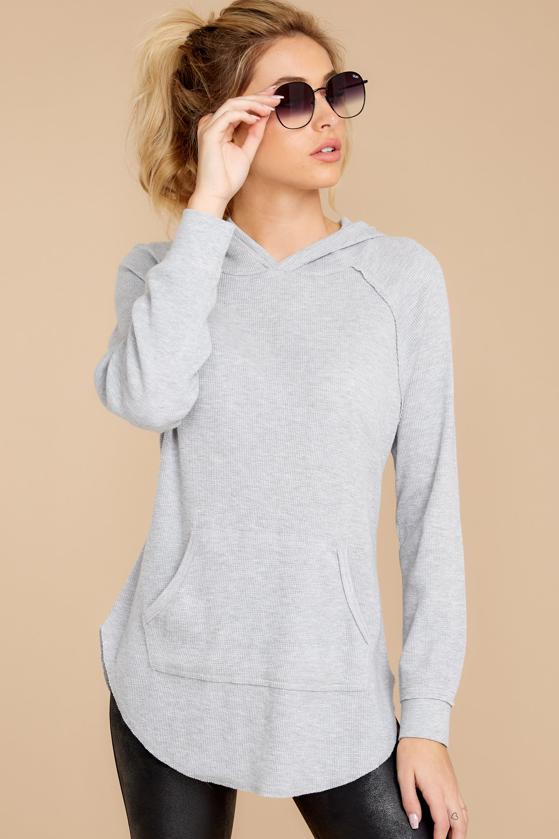8 The Heather Grey Thermal Hooded Tunic Top at reddressboutique.com