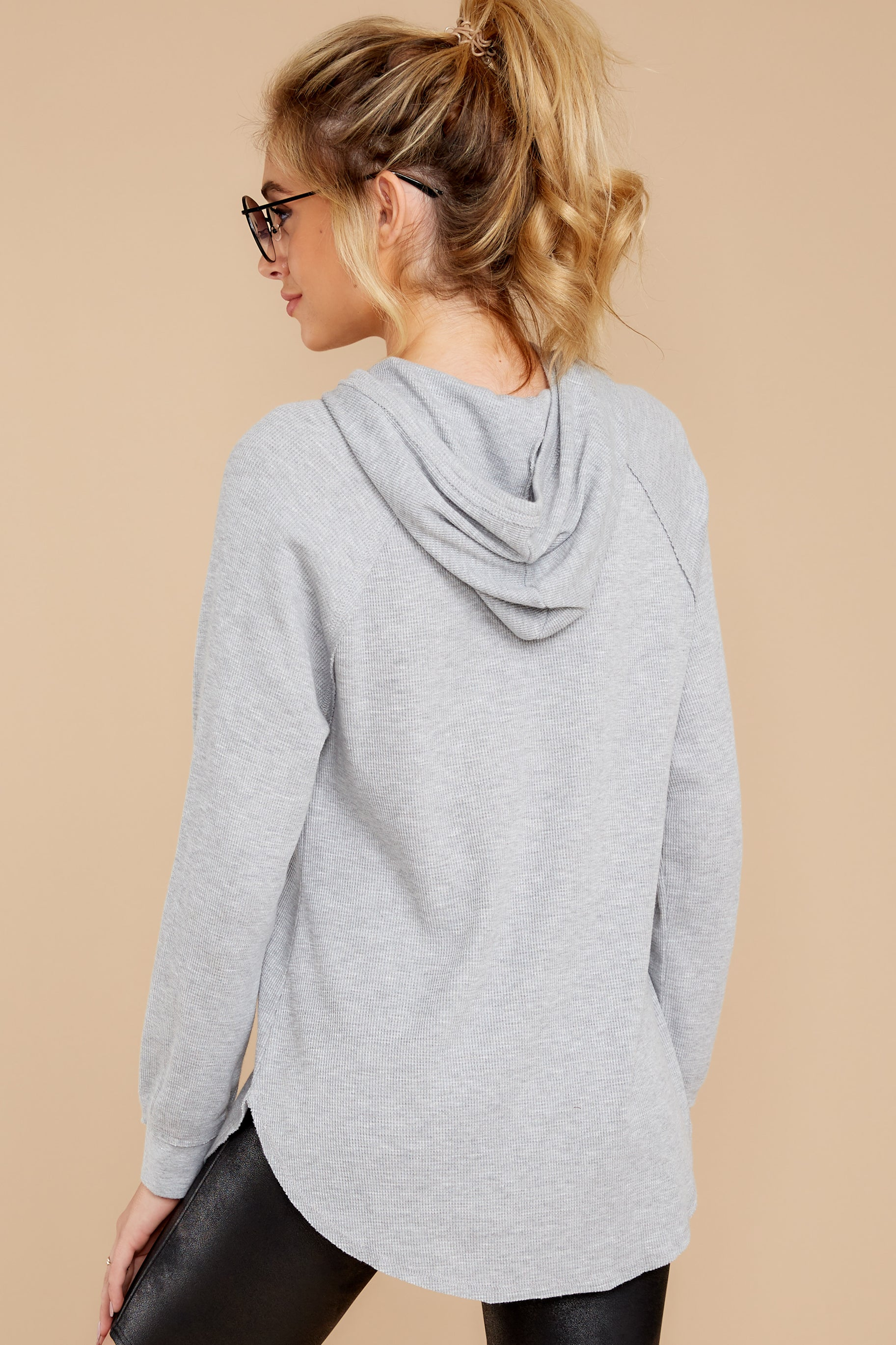 9 The Heather Grey Thermal Hooded Tunic Top at reddressboutique.com