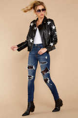 4 Walk Of Fame Black Vegan Leather Jacket at reddressboutique.com