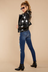 5 Walk Of Fame Black Vegan Leather Jacket at reddressboutique.com