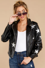 6 Walk Of Fame Black Vegan Leather Jacket at reddressboutique.com