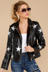 7 Walk Of Fame Black Vegan Leather Jacket at reddressboutique.com