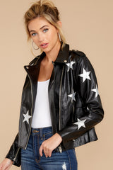 9 Walk Of Fame Black Vegan Leather Jacket at reddressboutique.com