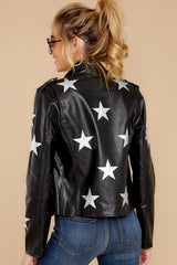 10 Walk Of Fame Black Vegan Leather Jacket at reddressboutique.com