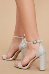 1 Never Grow Up Silver Sparkle Ankle Strap Heels at reddressboutique.com