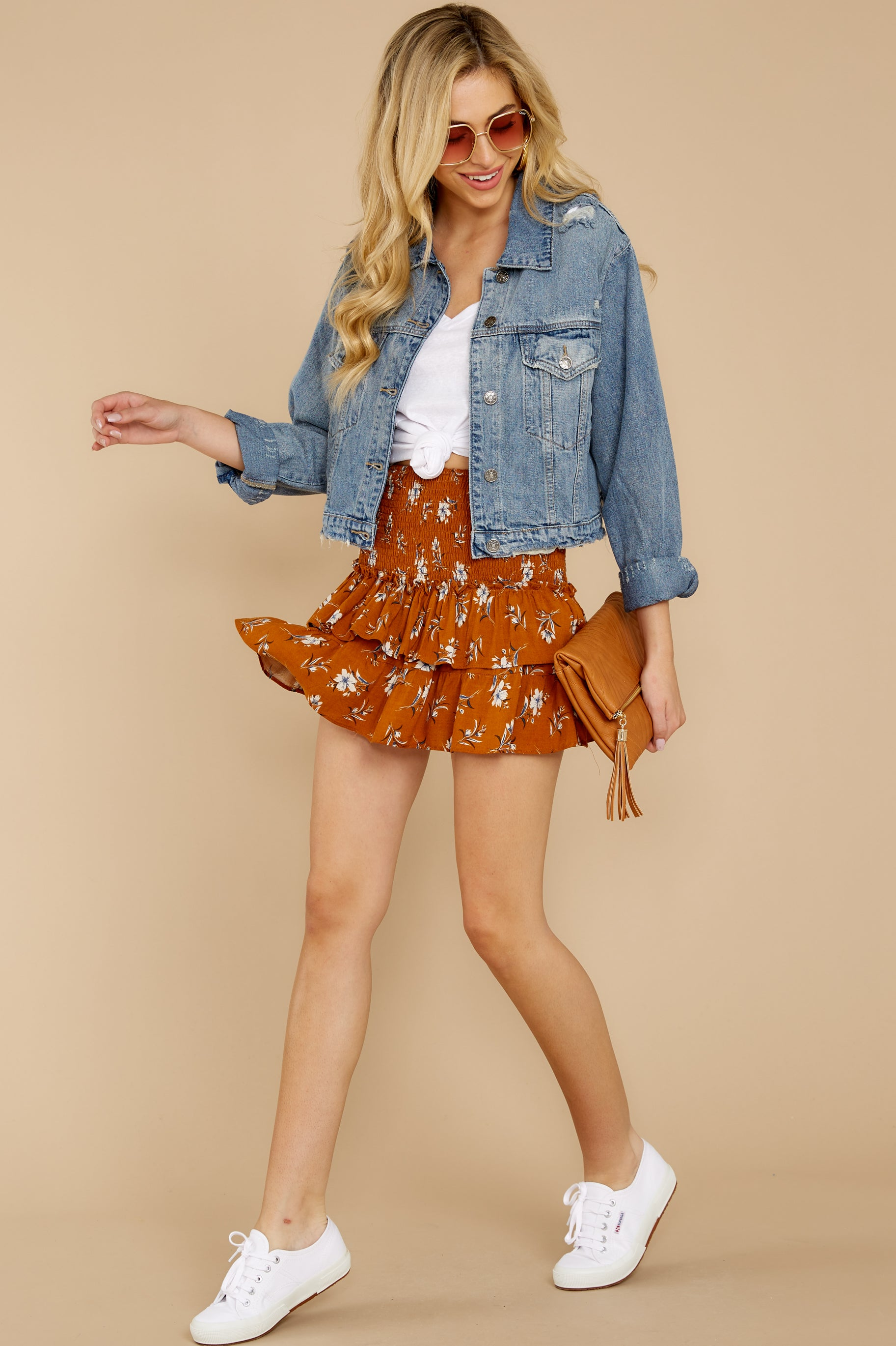 5 Moments Like These Rust Orange Floral Print Skirt at reddressboutique.com