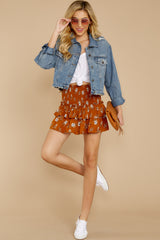 6 Moments Like These Rust Orange Floral Print Skirt at reddressboutique.com