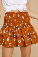 1 Moments Like These Rust Orange Floral Print Skirt at reddressboutique.com