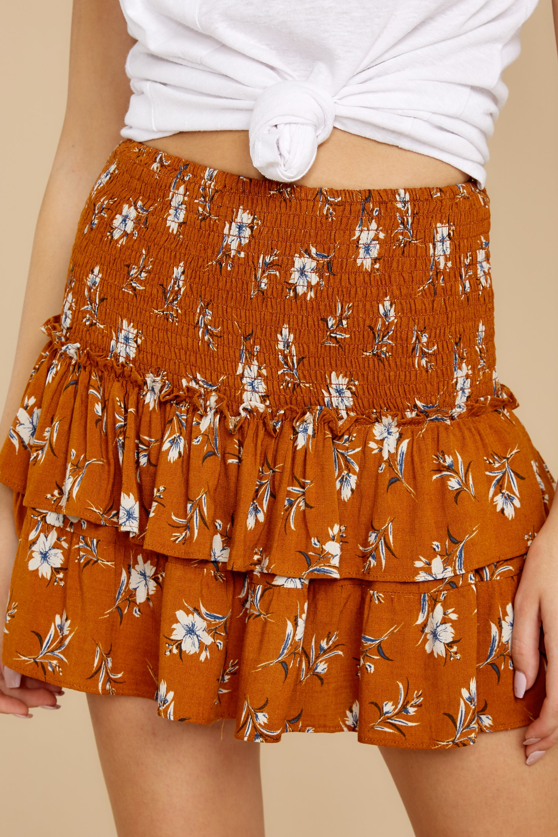 2 Moments Like These Rust Orange Floral Print Skirt at reddressboutique.com