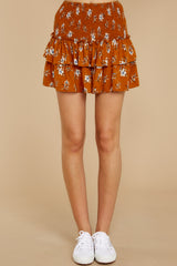 3 Moments Like These Rust Orange Floral Print Skirt at reddressboutique.com