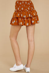 4 Moments Like These Rust Orange Floral Print Skirt at reddressboutique.com
