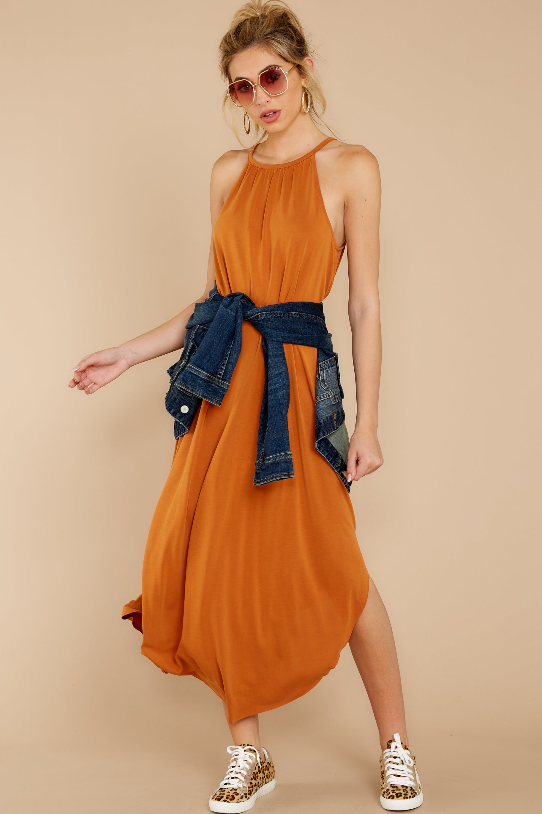 1 Close Your Eyes Golden Orange Maxi Dress at reddressboutique.com