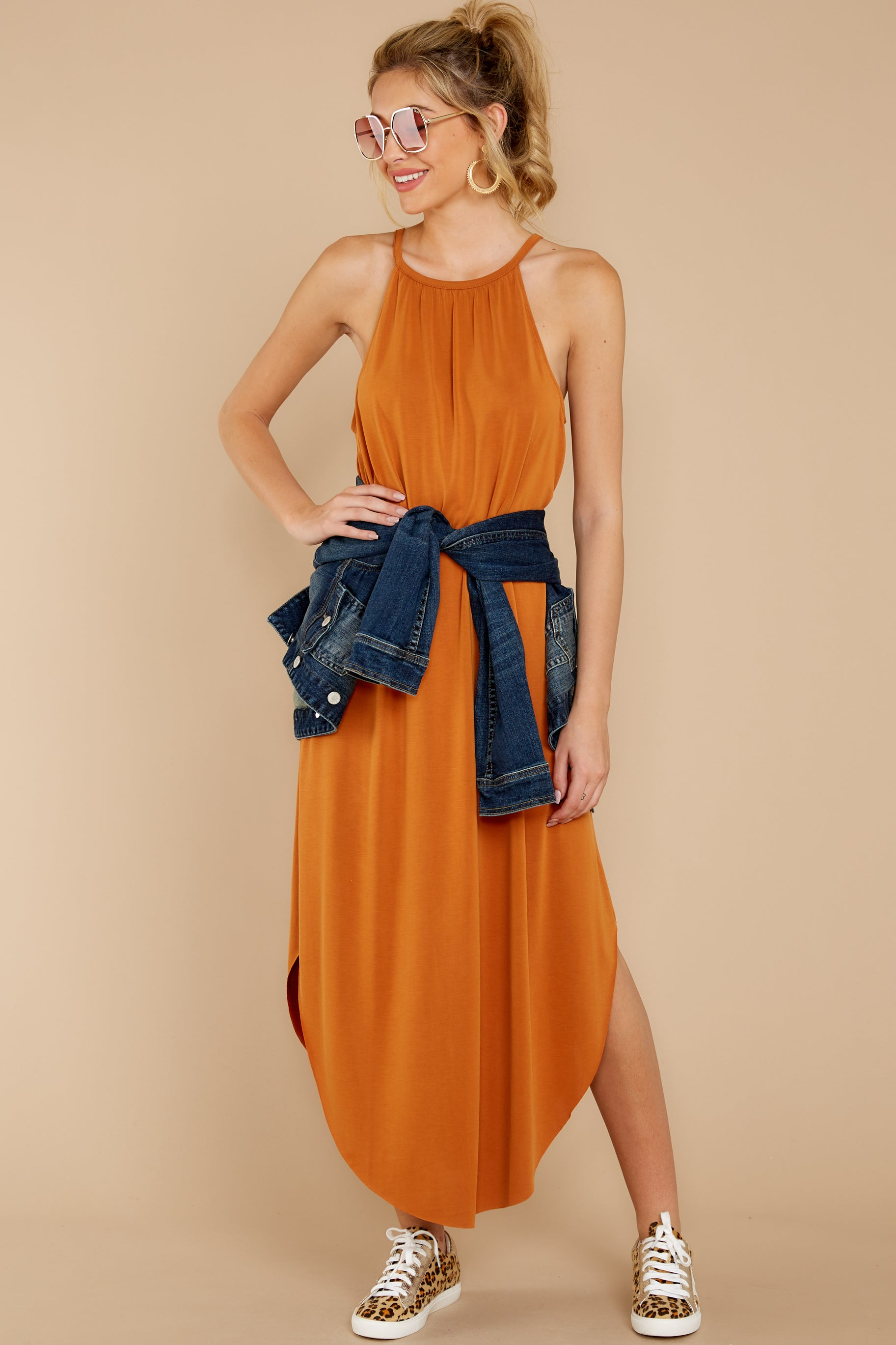 2 Close Your Eyes Golden Orange Maxi Dress at reddressboutique.com