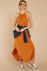 3 Close Your Eyes Golden Orange Maxi Dress at reddressboutique.com