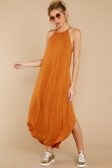 4 Close Your Eyes Golden Orange Maxi Dress at reddressboutique.com