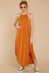 5 Close Your Eyes Golden Orange Maxi Dress at reddressboutique.com
