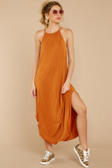 6 Close Your Eyes Golden Orange Maxi Dress at reddressboutique.com
