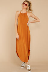 7 Close Your Eyes Golden Orange Maxi Dress at reddressboutique.com