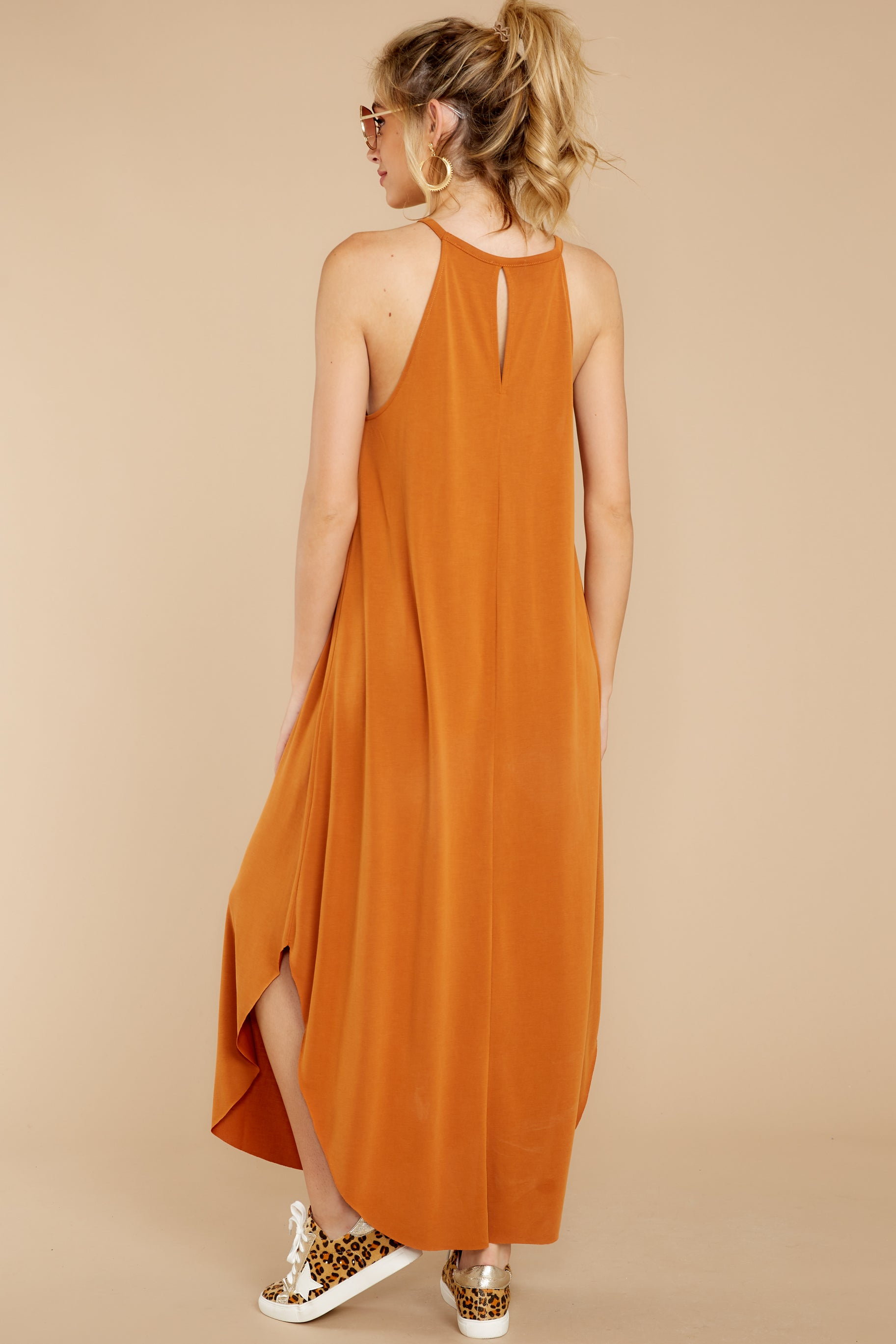 8 Close Your Eyes Golden Orange Maxi Dress at reddressboutique.com
