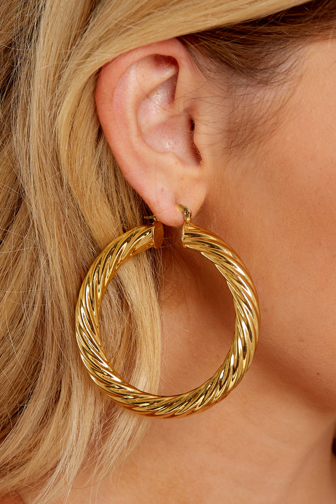 1 Beyond Reason Gold Hoop Earrings at reddressboutique.com
