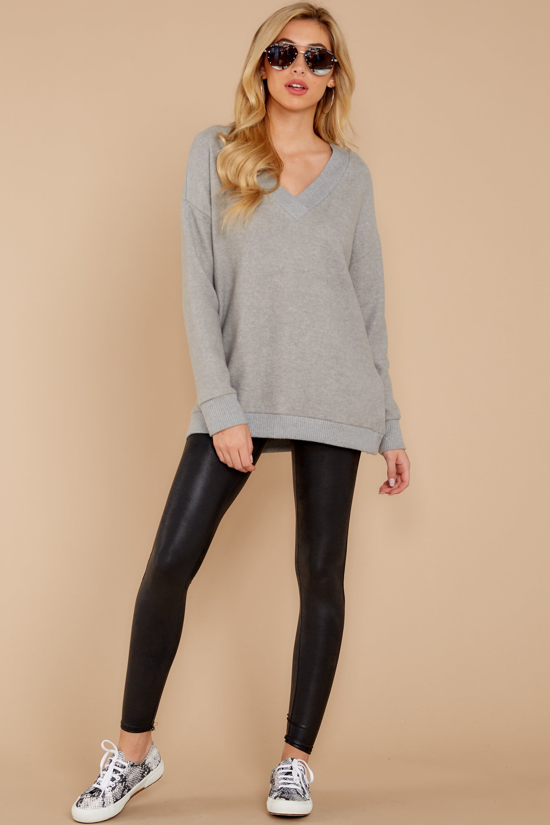 1 Soon Enough Heather Grey Sweater at reddressboutique.com