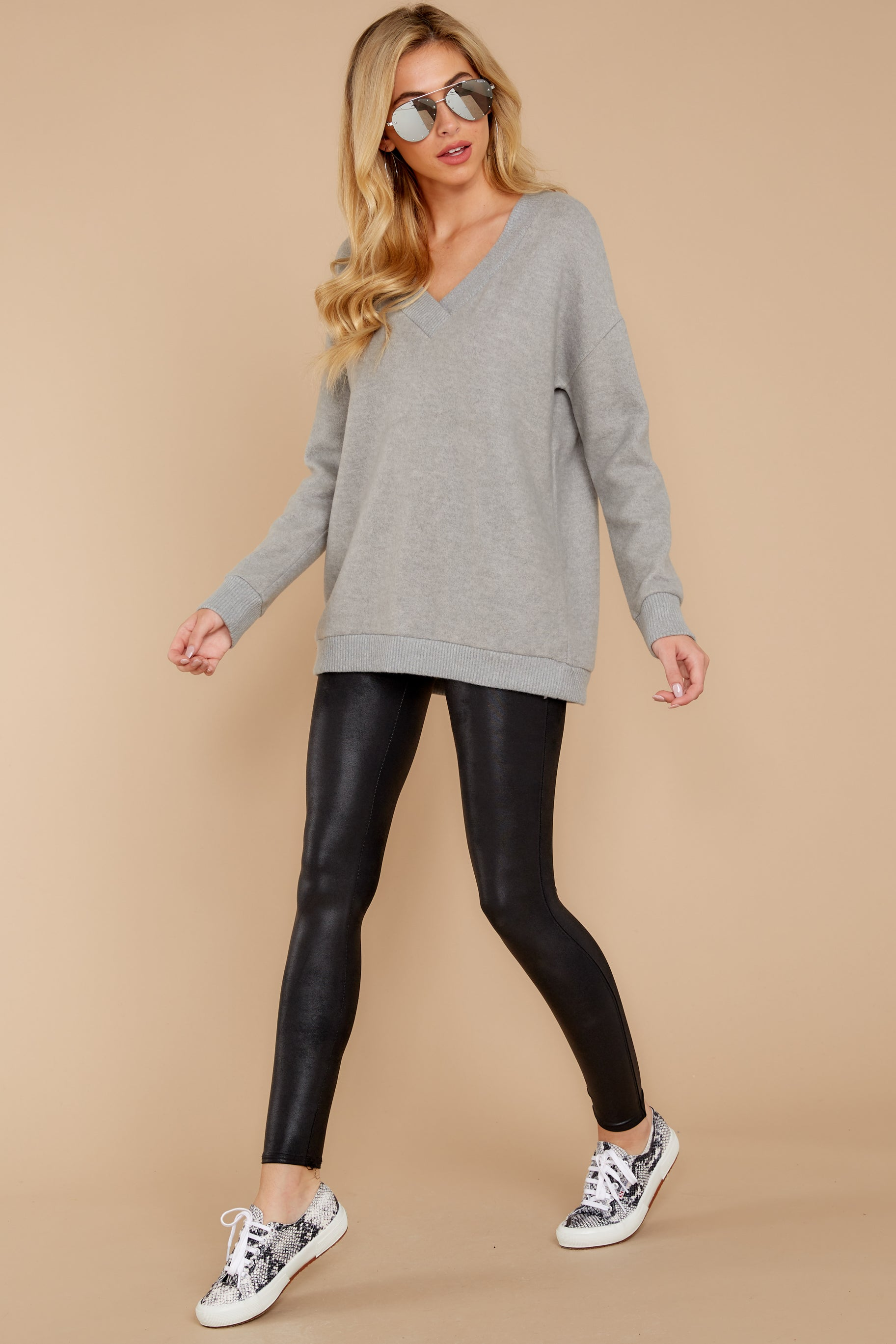 3 Soon Enough Heather Grey Sweater at reddressboutique.com