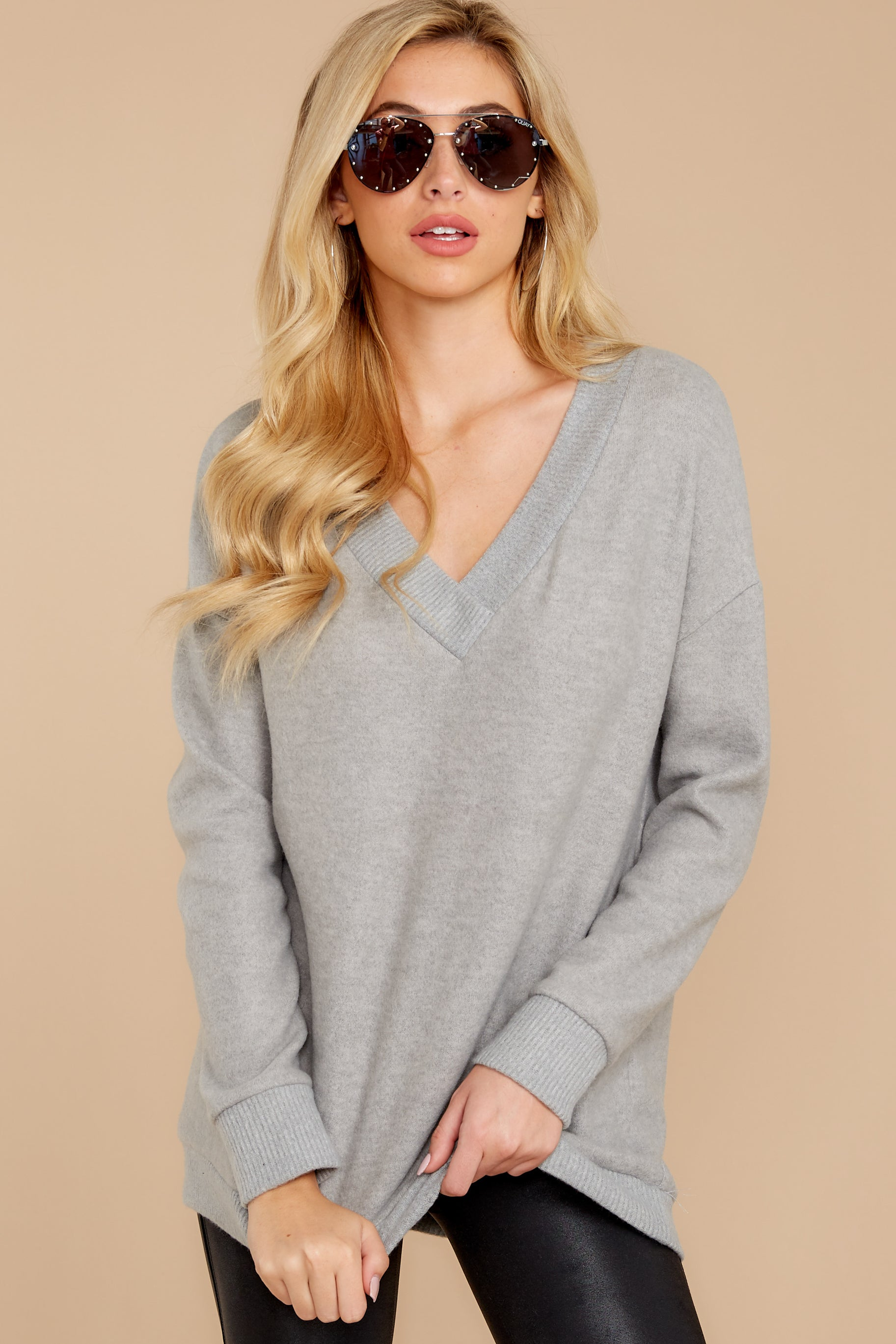 4 Soon Enough Heather Grey Sweater at reddressboutique.com