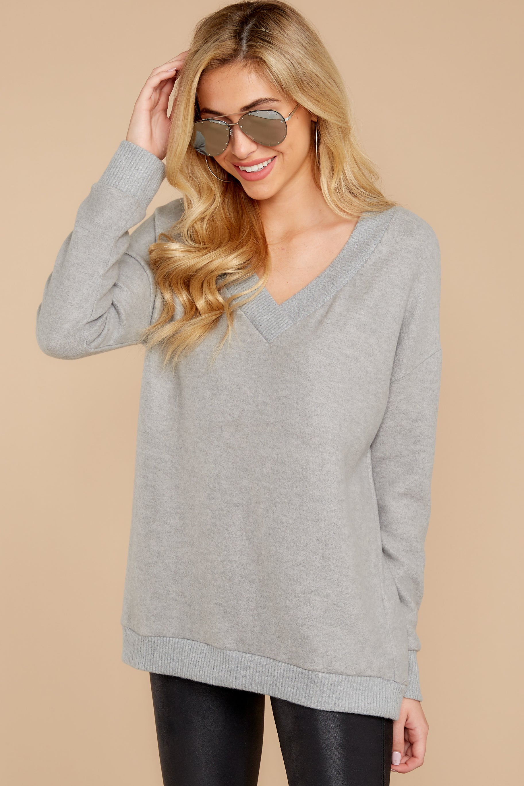 5 Soon Enough Heather Grey Sweater at reddressboutique.com