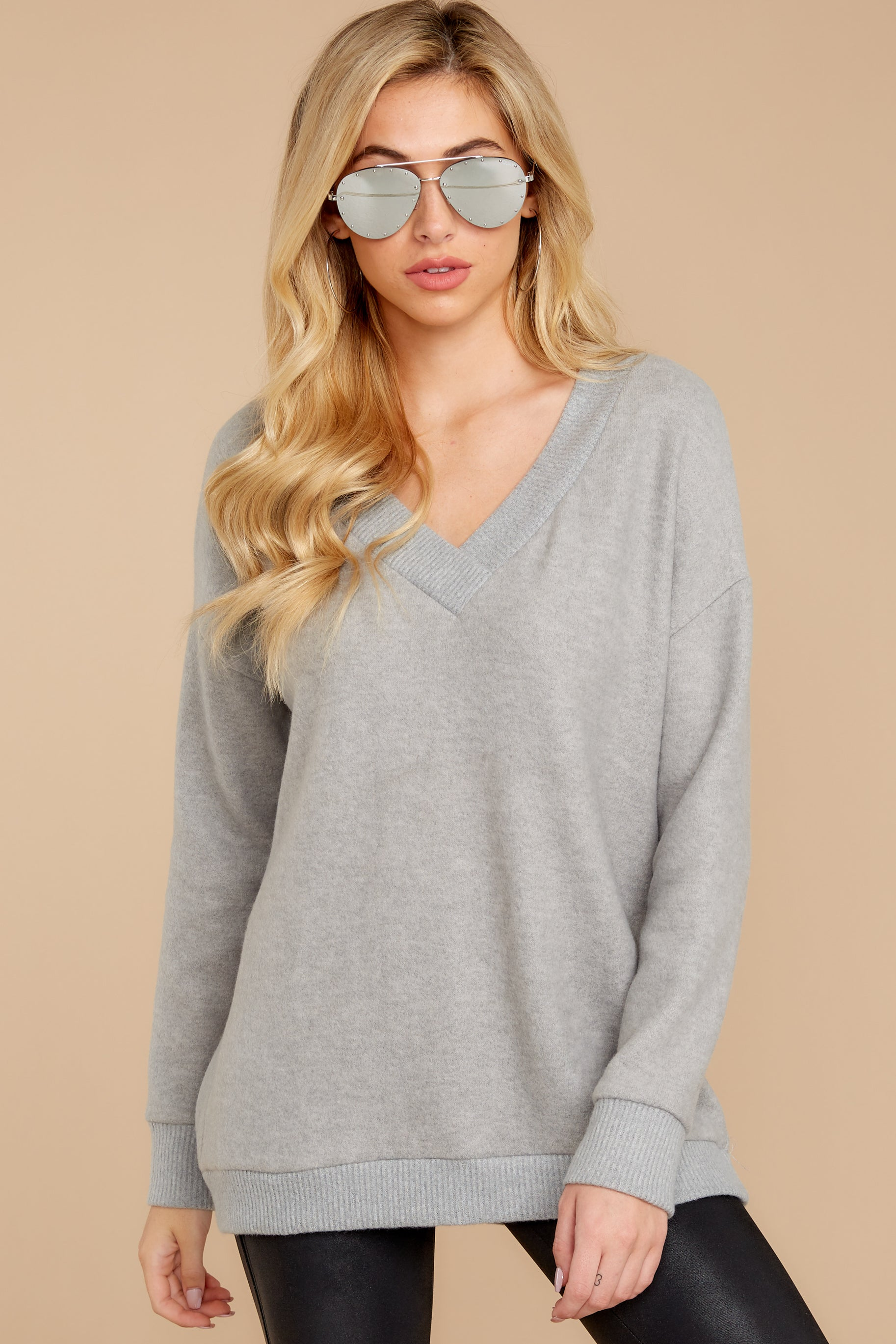 6 Soon Enough Heather Grey Sweater at reddressboutique.com