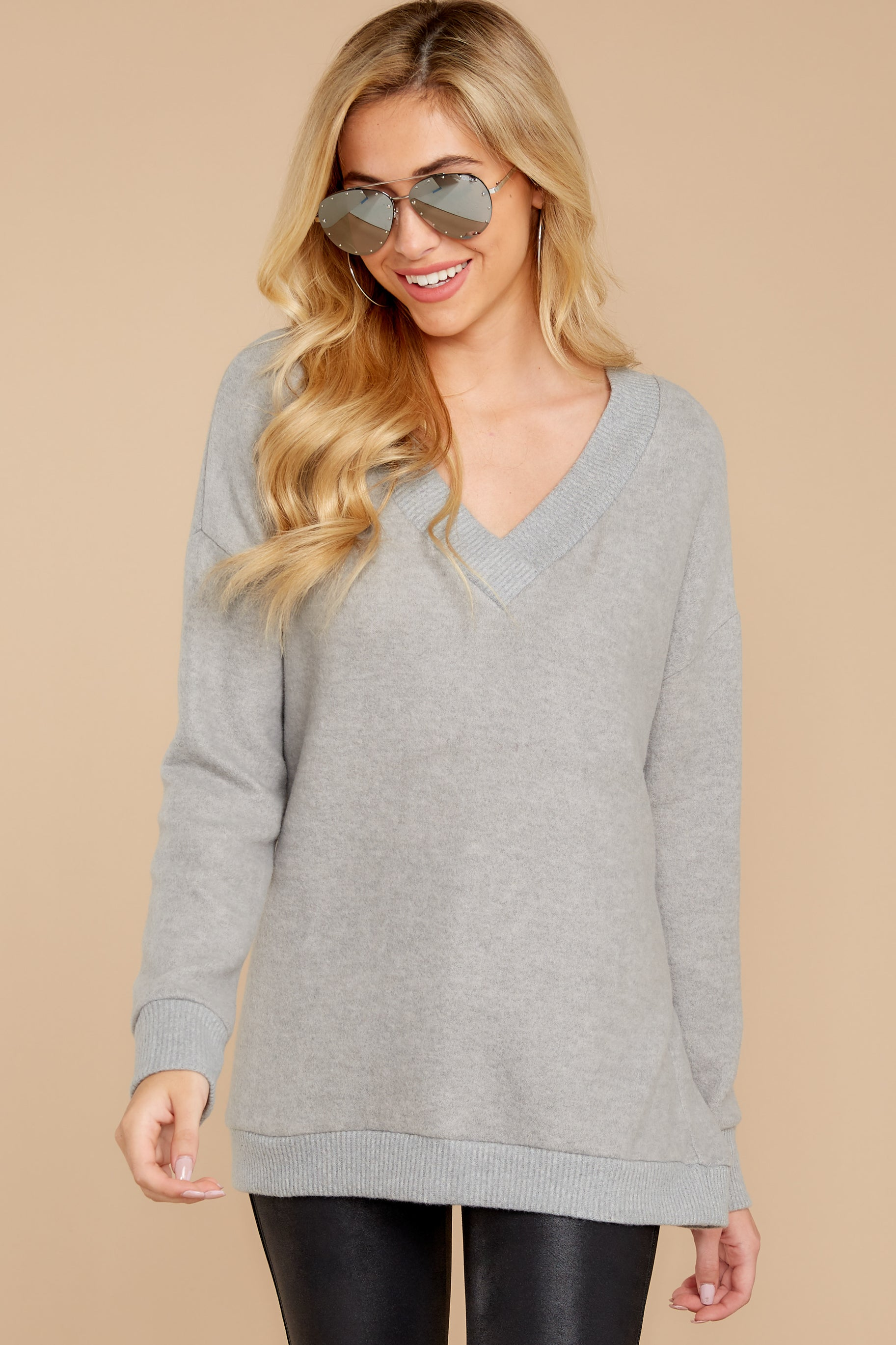 7 Soon Enough Heather Grey Sweater at reddressboutique.com