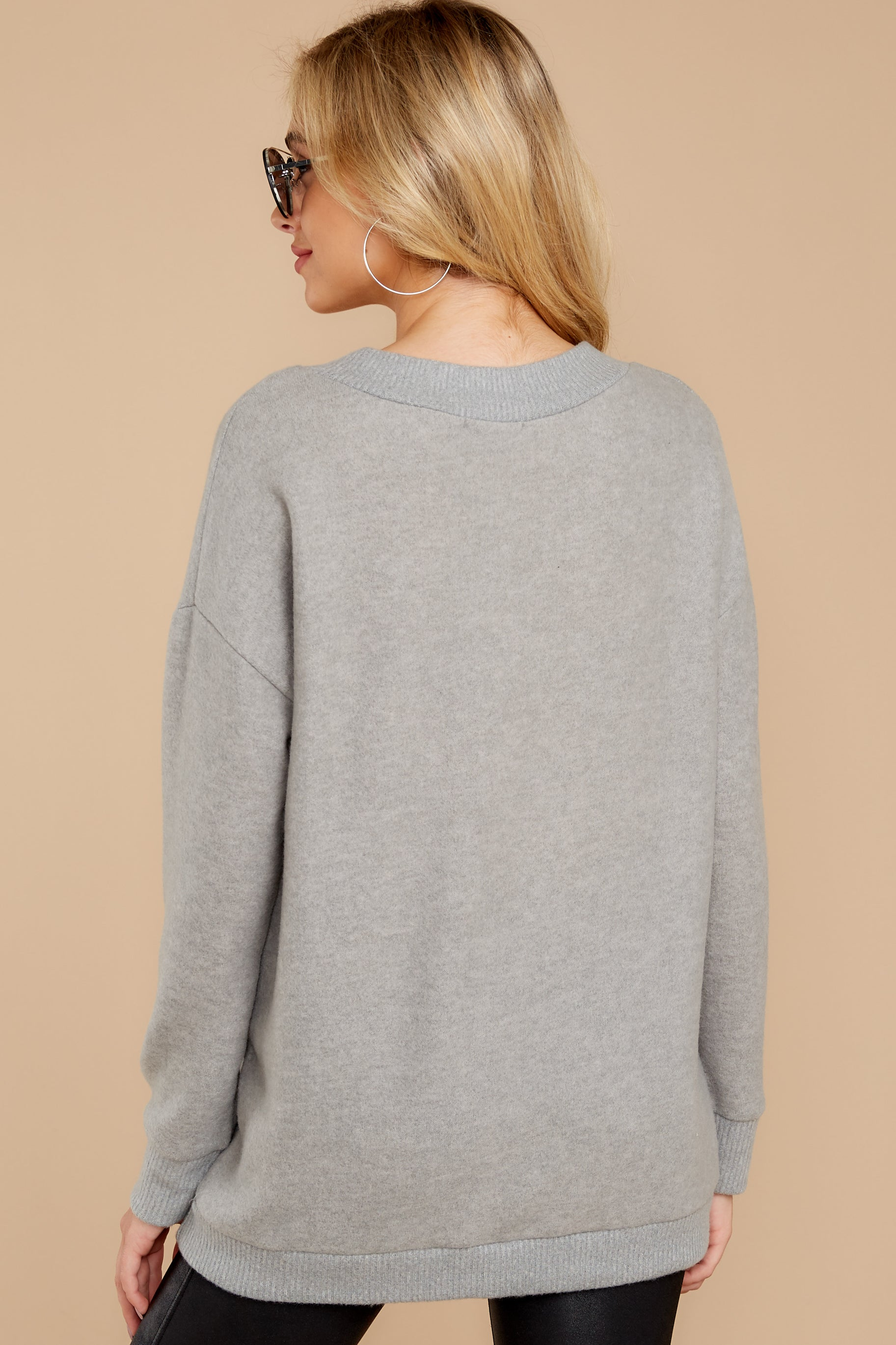 8 Soon Enough Heather Grey Sweater at reddressboutique.com