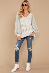 1863 All I Want Light Grey Sweater at reddress.com