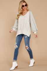 1864 All I Want Light Grey Sweater at reddress.com