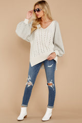 1865 All I Want Light Grey Sweater at reddress.com