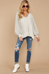 1866 All I Want Light Grey Sweater at reddress.com