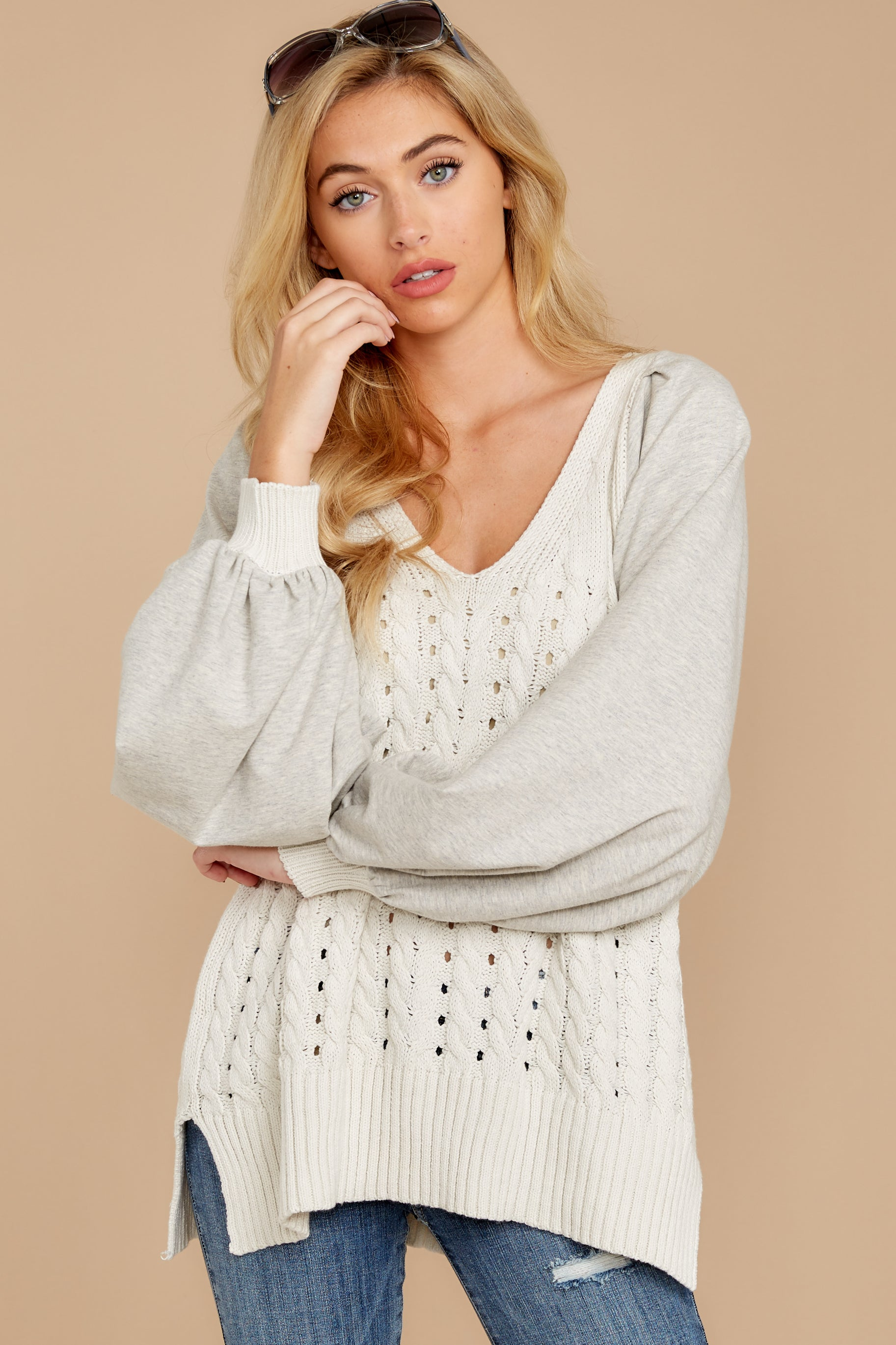 1867 All I Want Light Grey Sweater at reddress.com