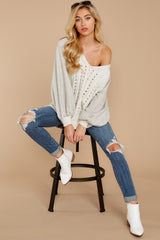 1862 All I Want Light Grey Sweater at reddress.com
