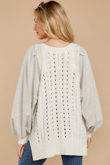 1869 All I Want Light Grey Sweater at reddress.com