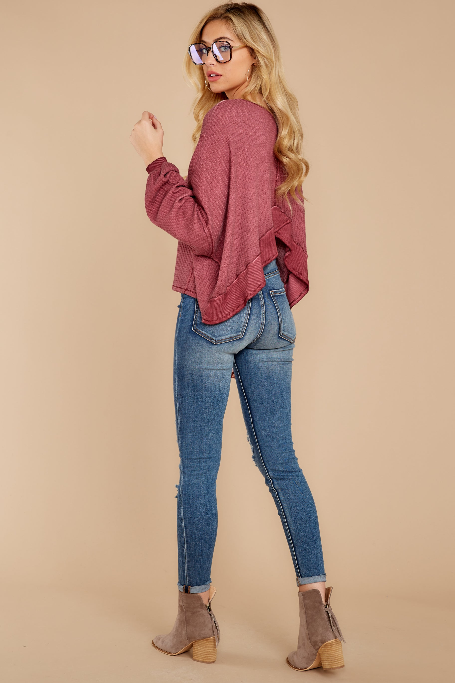 2 Let's Be Casual Rosewood Waffle Knit Top at reddress.com