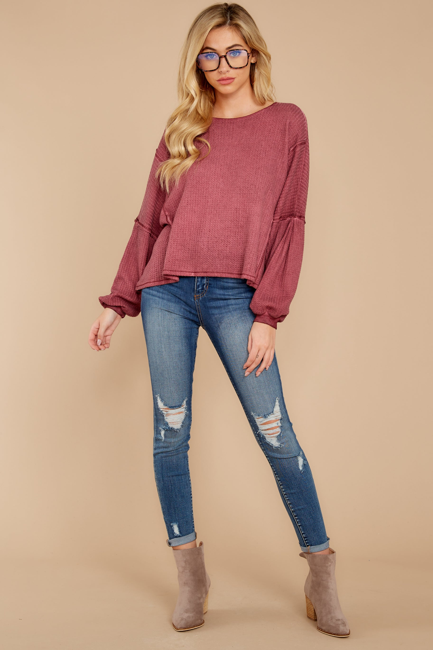 3 Let's Be Casual Rosewood Waffle Knit Top at reddress.com