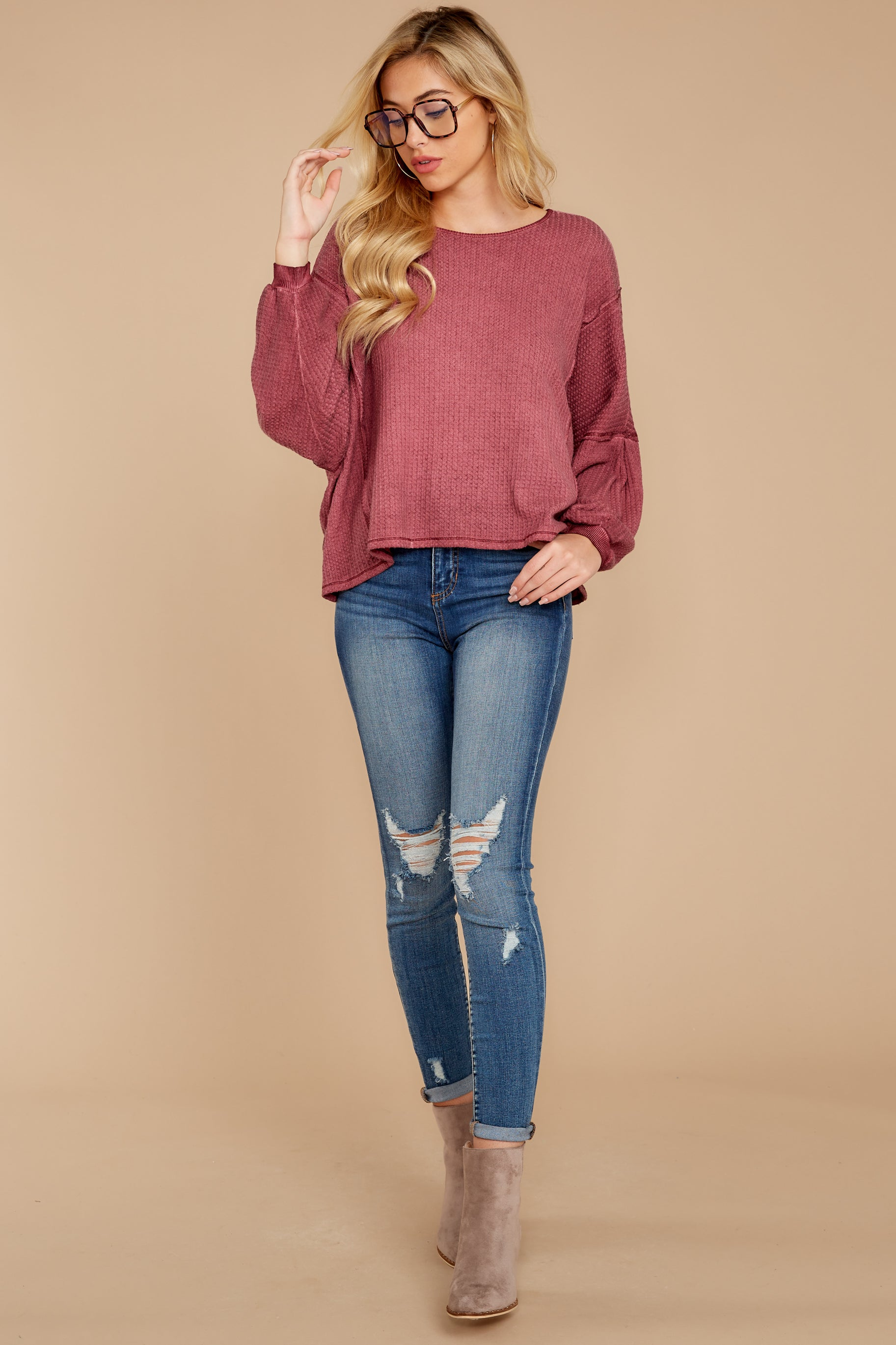 4 Let's Be Casual Rosewood Waffle Knit Top at reddress.com