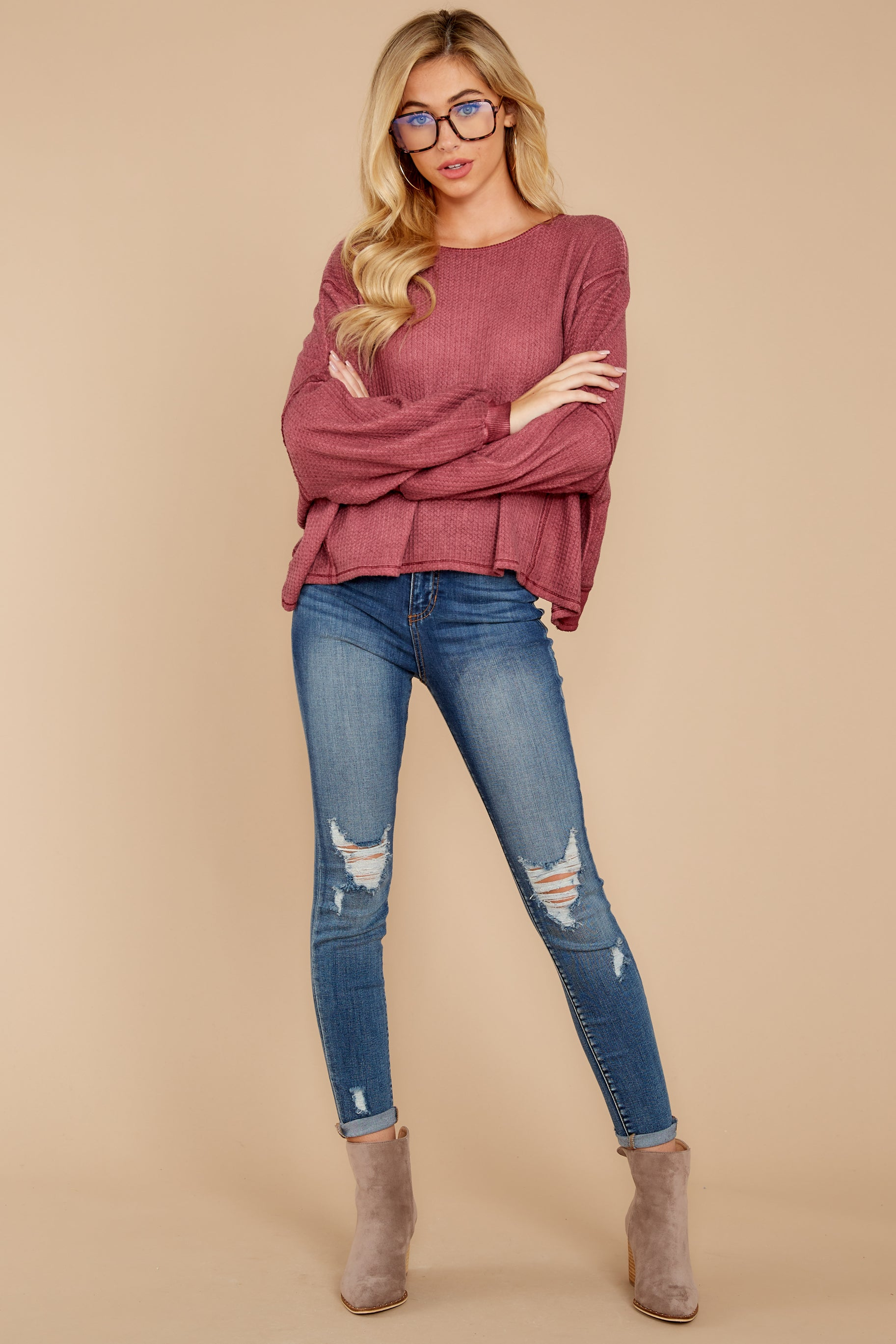6 Let's Be Casual Rosewood Waffle Knit Top at reddress.com
