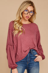 7 Let's Be Casual Rosewood Waffle Knit Top at reddress.com