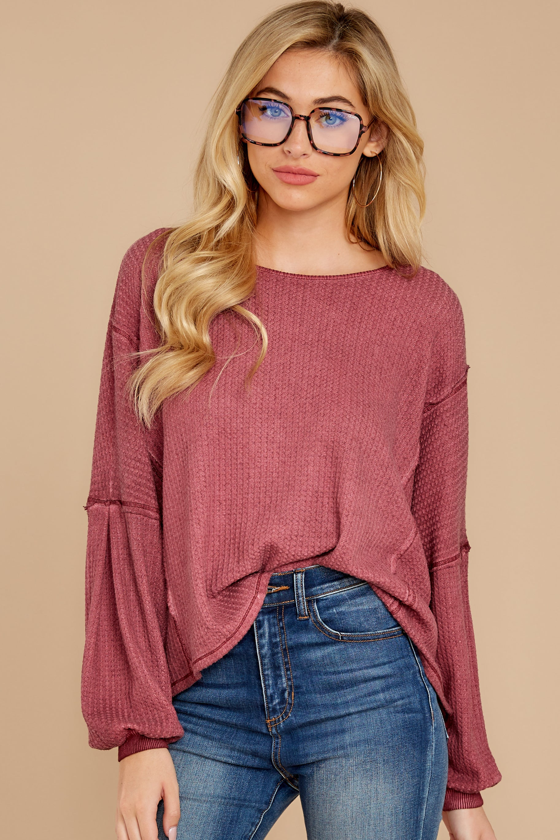 5 Let's Be Casual Rosewood Waffle Knit Top at reddress.com