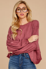 8 Let's Be Casual Rosewood Waffle Knit Top at reddress.com